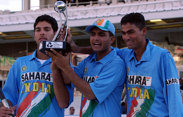 India's Sourav Ganguly (centre) holds the winners trophy with Mohammad Kaif (r) and Yuraj Singh (l) following their series win over England.