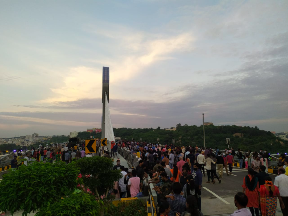 These Pictures Of Crowd At Durgam Cheruvu Cable Bridge Will Make You Go 'Corona Na? LOL'